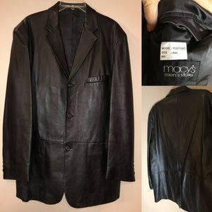 🆕 Alfani Macy's Black Leather Men's Blazer 44R